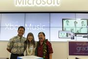 From left, Curt Kekuni, pastor for Kawaiahao Church, Lori Lum of the Girl Scouts of Hawaii and Kelvin Taketa, president of Hawaii Community Foundation at the Microsoft Store opening at Ala Moana Center.