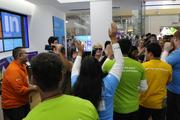 The first group of people allowed to enter the new Microsoft Store at Ala Moana Center.
