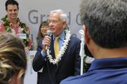 Honolulu Mayor Kirk Caldwell welcomes people attending the grand opening of the new Microsoft Store at Ala Moana Center.