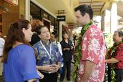 From left, Sarah Tenney, vice president of marketing and communications for Goodwill Industries of Hawaii; Marc Alexander, development director for IHS and Jarrett Walters, chairman of the board of Palama Settlement at Ala Moana Center for the opening of the new Microsoft Store.