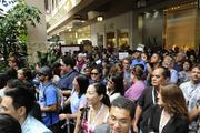 Ala Moana Center was packed Thursday morning as people awaited the opening of the new Microsoft Store.