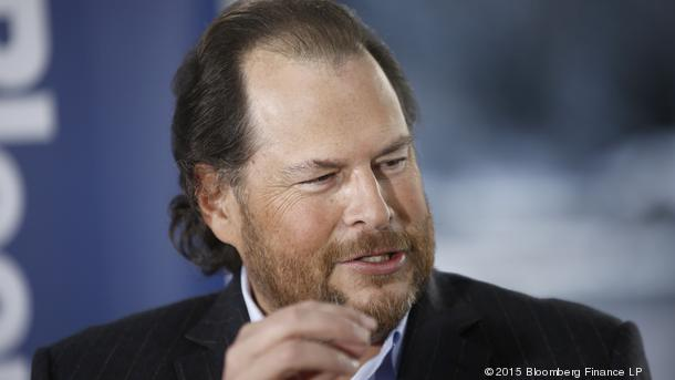Marc Benioff, chairman and chief executive officer of Salesforce.com Inc., speaks during a Bloomberg Television interview on day two of the World Economic Forum (WEF) in Davos, Switzerland, on Thursday, Jan. 22, 2015. World leaders, influential executives