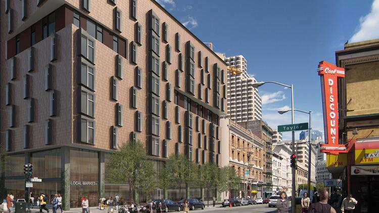 A downsized version of the Tenderloin Neighborhood Development Corp.'s Eddy and Taylor Streets project is eight stories, 103 units and much smaller food space of 5,500 square feet.