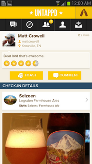 Untappd Device: Android and iPhone Cost: Free Rating: 4 stars Think Foursquare for the beer fans. Now that the Bay Area is exploding with good microbreweries, this app can help you navigate local craft beers and bars, find the most popular beers, see what your friends are drinking and read personalized recommendations. Don't forget to take a photo of your favorite brew to help those who follow you. Get it here.