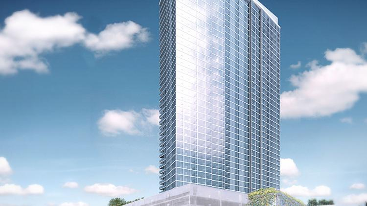This rendering shows the Symphony Honolulu condominium, which is being developed by San Diego-based OliverMcMillan.