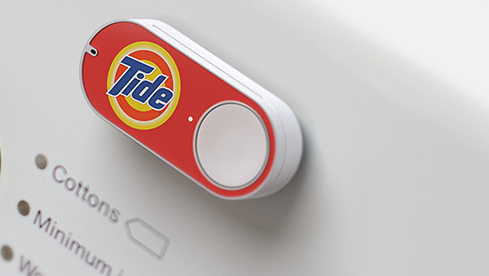 Amazon's Dash Button, which links to a smartphone and can be affixed to a washing machine, can be pushed to re-order Tide laundry detergent or other P&G products.
