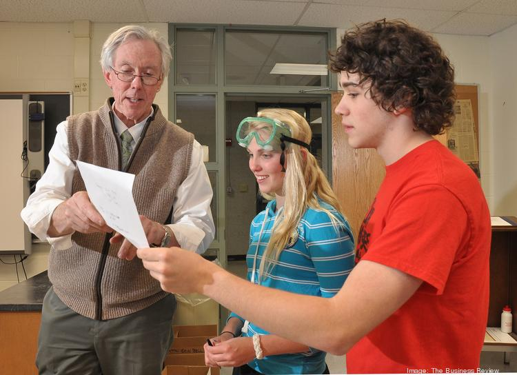 Saratoga Springs High School AP chemistry teacher Tom Shiland with students Holly Eberlin and Julian Leal