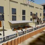 Lakefront Brewery plaza on river walk steps closer to construction