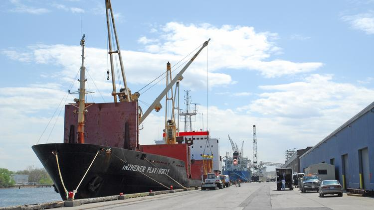 Outbound ships are loaded at the Port of Albany.