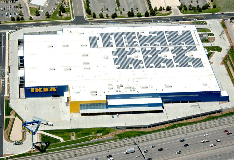 An aerial view of the Ikea store along Interstate 25 in Centennial shows the solar array on the roof.