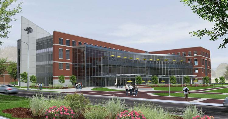 A rendering of the new student center at UAB.