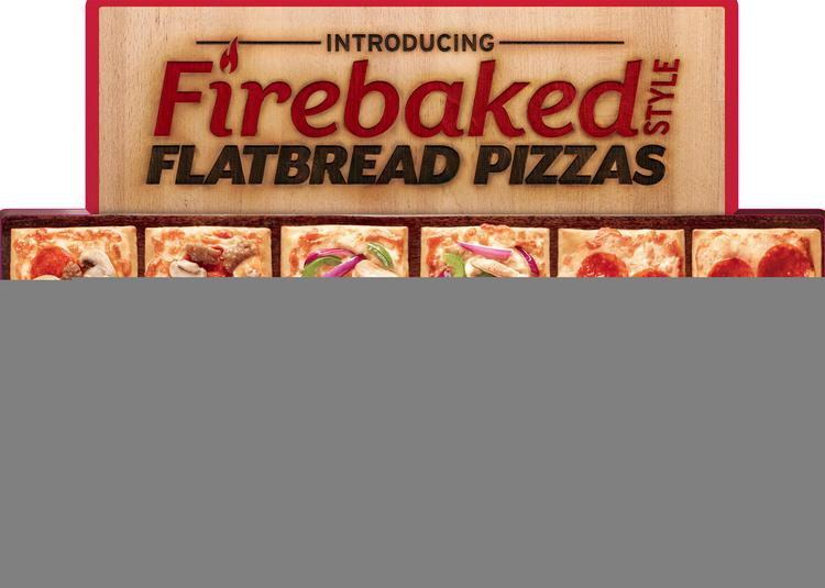 Pizza Hut's new flatbread crusts are sold in a box of six and can be topped three different ways with up to three toppings each.