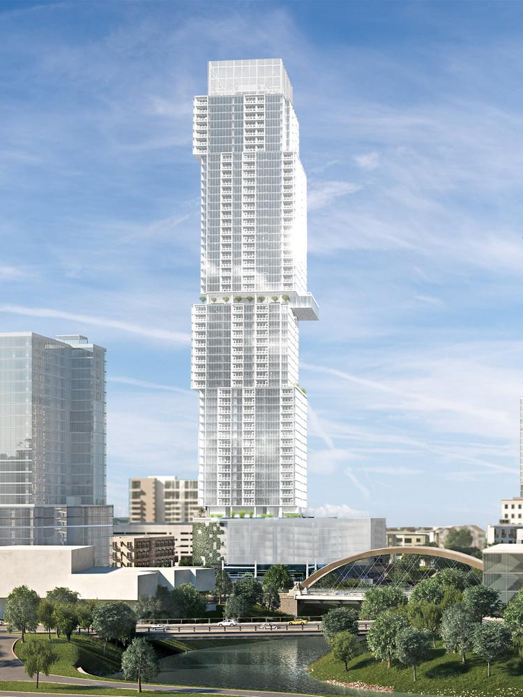 The Independent, with its off-kilter floors that resemble a gleaming white Jenga tower, will be the tallest building in Austin and the tallest residential building west of the Mississippi River when complete. Groundbreaking and construction timelines have not yet been revealed, though.