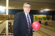 Kings Bowl COO Frank Stryjewski found a bowling ball amongst the construction and strikes a pose. Get it? Strike a pose. It's OK, that one's for me.
