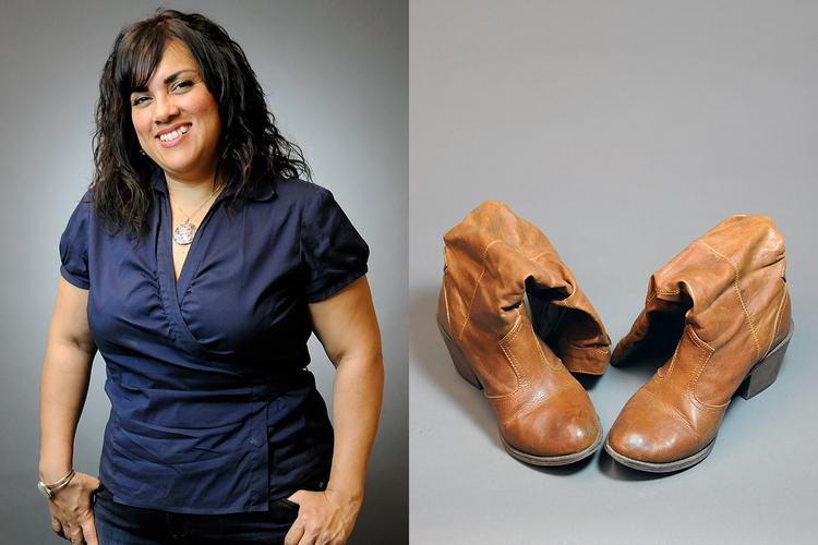 """""""I'm extremely casual and don't get dressed up for work,"""" Gina Lujan says. """"These are my dress-up boots, really comfortable and fun."""""""