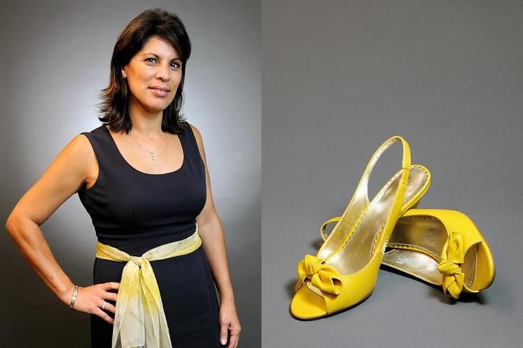 """Describing herself as an optimist, Alice Perez likes to say that """"the sun shines everyday whether we see it or not."""" She says her yellow heels """"represent the sun, yellow and shiny."""""""