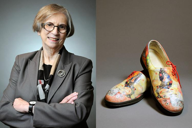 An avid art collector, Estelle Saltzman has four pairs of Icon shoes, which display artwork from both up-and-coming artists as well as from masters such as Claude Monet and Vincent Van Gogh.
