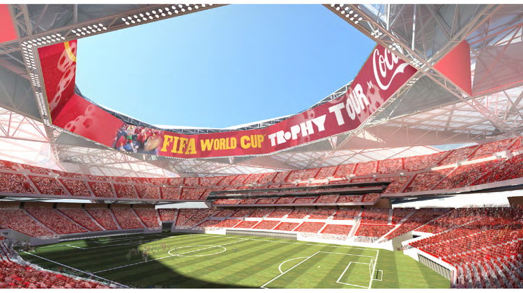 The Atlanta Falcons' proposed $1 billion stadium in the soccer pitch setup.