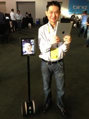 Jay Liew of Double Robotics was on hand at the Launch Festival to show off the startup's iPad on wheels robot.