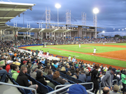 A reported 4,710 were in attendance for the Hops' opening game on Monday evening.