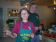 Cindy and Jim Barber, owners of Barber's Farm in Middleburgh, give the chefs a history of their fifth-generation farm