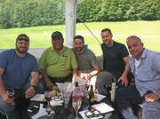 Relaxing after the tour of Brewery Ommegang in Cooperstown: Dave Gibson (left) of Creo in Guilderland, Yono Purnomo of Yono's in Albany, Elliot Cunniff of MezzaNotte in Guilderland, Will Brown of Glen Sanders Mansion (Mazzone Hospitality) in Scotia and Jaime Ortiz of Mazzone Hospitality