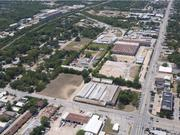 An aerial view of the site where Trinity Green will be built in West Dallas.