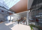The lobby of 4000 Connecticut Ave. NW will be opened up to include common areas for workers to congregate and views of the building's unique architecture.