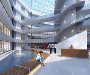 Water features and open spaces abound throughout the complex network of office stacks.