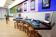A view of workstations at Microsoft's new Pioneer Place store.