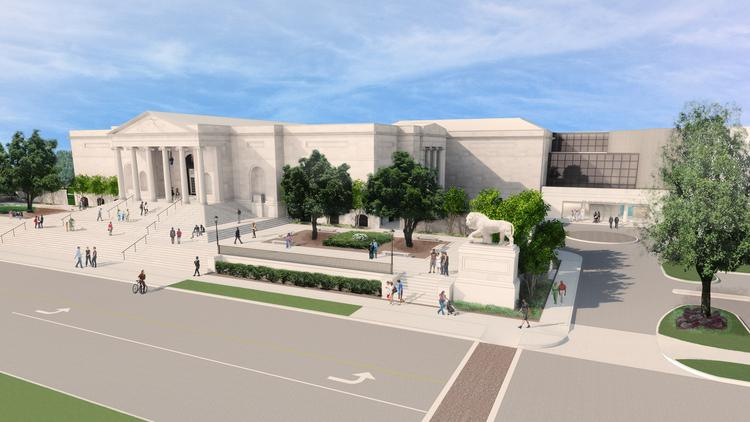 A rendering showing both entrances of the Baltimore Museum of Art that will be open in November 2014.