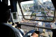 Crane operator Dan Cromarty gets a room with a view for his entire shift.