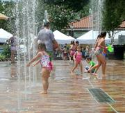 The downtown splash fountain is a summertime hot spot for all ages.