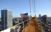 The downtown Orlando skyline as seen from the 267-foot-high crane arm at the Skyhouse construction site.