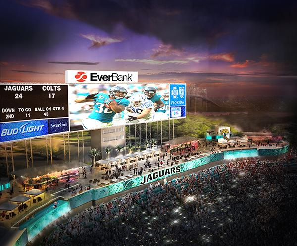A rendering showing upgrades made to EverBank Field's north endzone, including the largest video board in the world and swimming pools.