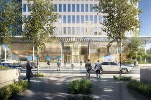 The ground floor of 400 Record St. will feature a glass lobby that opens up to the sidewalk in downtown Dallas.