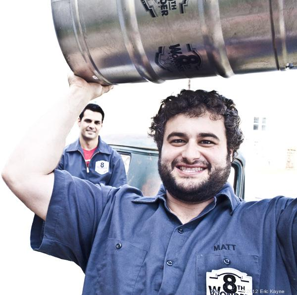 Why are Alex Vassilakidis, left, and Matt Marcus smiling? Their Houston craft brewery — 8th Wonder Brewery — will be able to sell beer directly to consumers on their premises as a result of a bill passed by Texas lawmakers this year.