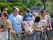 A robot of the people, Optimus Prime made time to hang out with fans who were waiting for the opening day events.
