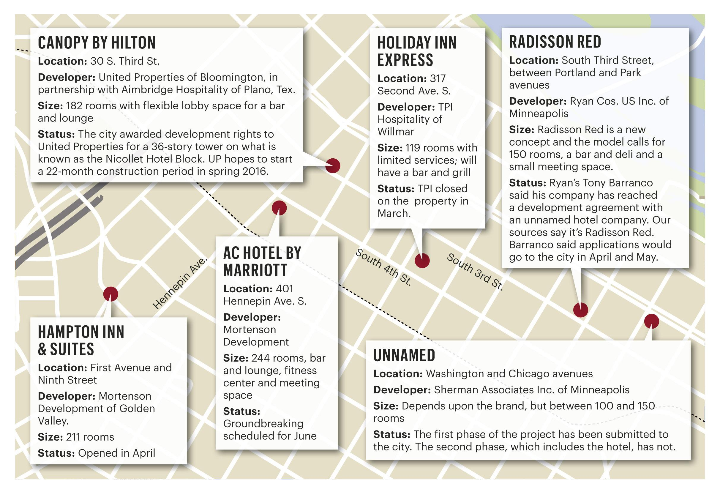 Downtown Minneapolis Hotel Map on