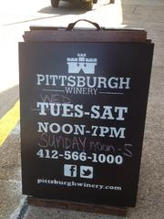 Outdoor sign board for Pittsburgh Winery.