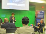 IRS Community Outreach and Community Liaison Maritza Rabinowitz tells business owners at the Business and Bagels event to plan to stay open in the event of a crisis.
