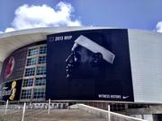 LeBron James photo on the AmericanAirlines Arena.