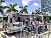 Miami Heat gear is for sale at a truck in front of AmericanAirlines Arena.