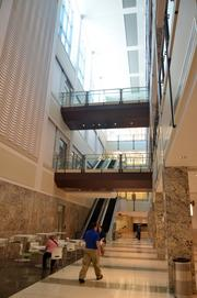 The atrium of the new Wake County Justice Center