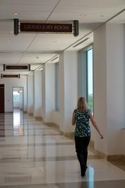 The hall leading to one of the Grand Jury Rooms inside the new Wake County Justice Center