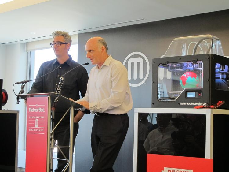 At a press conference at MakerBot Industries this morning, MakerBot Industries CEO Bre Pettis, left and Stratasys CEO David Reis said that together, the two companies will fuel growth in the 3-D printing market. Stratasys has acquired MakerBot in a stock deal valued at about $403 million.