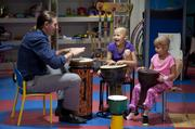 Brett Northrup, a certified music therapist, held a drumming therapy session with 7-year-olds Lydia Haycraft and Meena Elgarmi at Kosair Children's Hospital. Lydia and Meena both are fighting cancer.