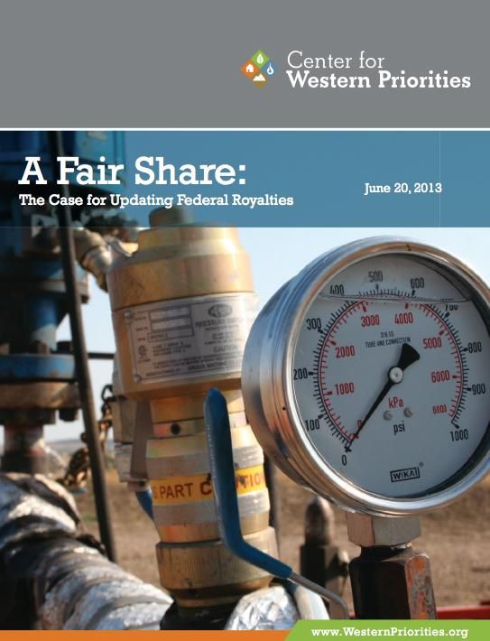 Cover of the Center for Western Priorities' new report on royalties. A link to download the report is in the story at left.