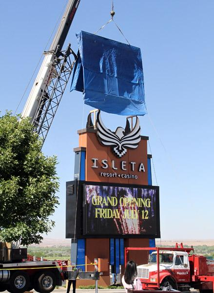 A new marquee symbolizing the change of the Hard Rock Hotel & Casino name back to the Isleta Resort & Casino was unveiled Thursday.