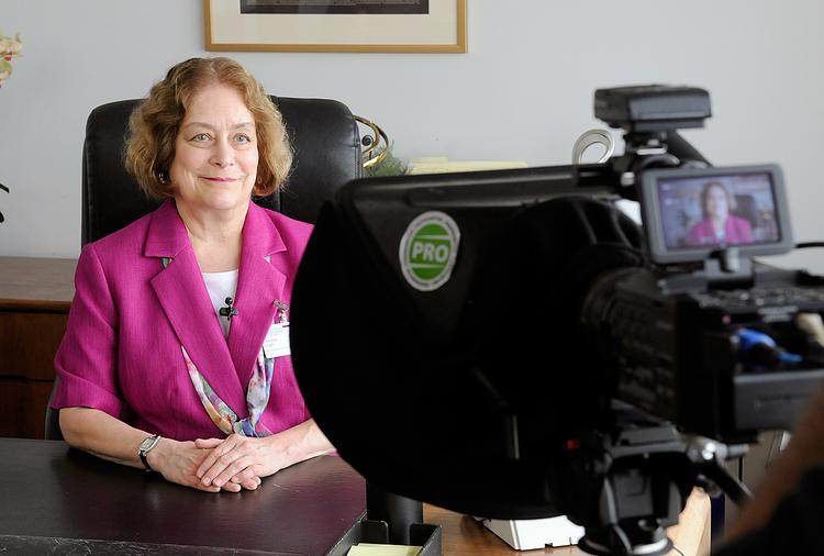 Christine Griger is filmed for a Sutter video introducing her as the new CEO.